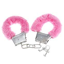 FURRY FLUFFY BLACK METAL HANDCUFFS FANCY DRESS HEN NIGHT STAG NAUGHTY PLAY TOYS