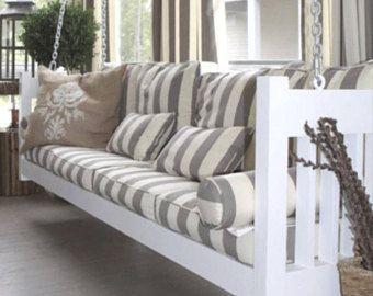 Porch Swing Cover White Grey Mattress Cover Piping Outdoor Bed Twin Mattress Cover Indoor Outdoor Cushion Mattress Porch Swing Porch Swing Bed Outdoor Mattress