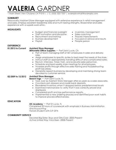 Retail Resume Examples No Experience Sales Resume