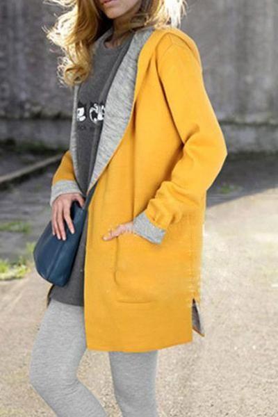 Hooded Patch Pocket Woolen Color Block Coat   Fashion