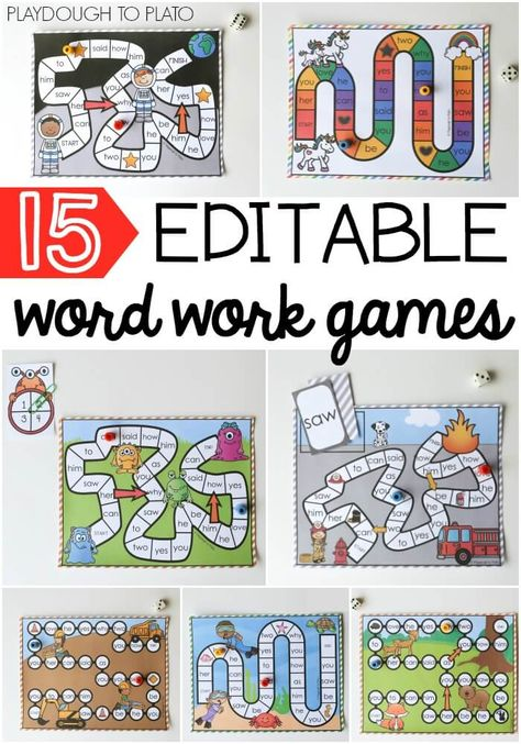 I love that they're editable so you can use them as sight word activities, word work games, spelling practice. Excellent for literacy centers or just for fun with kindergarten, first grade, second grade! Spelling Games, Spelling Practice, Sight Word Practice, Sight Word Games, Spelling Activities, Reading Activities, Teaching Reading, Sight Word Centers, Word Work Centers