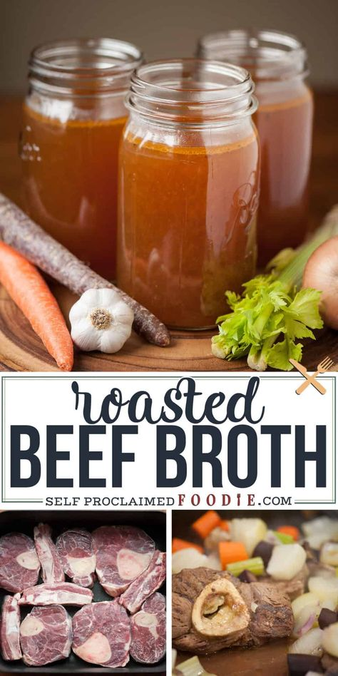 Make your own homemade slow Roasted Beef Broth for the most delicious stock that makes perfect stews, soups, and roasts. I like to call it liquid gold! Recipes With Beef Soup Bones, Beef Broth Soup Recipes, Beef Stock Recipes, Beef Gravy Recipe, Homemade Beef Broth, Homemade Soup, Do It Yourself Food, Beef Bone Broth, How To Cook Beef