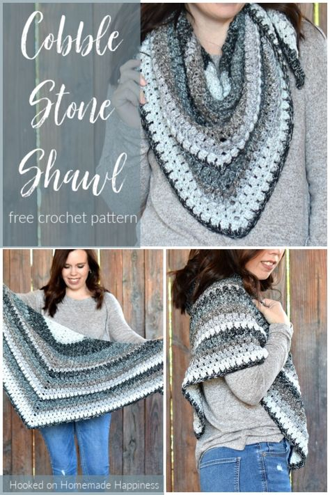The Cobblestone Shawl Crochet Pattern is a simple pattern with just a 2 row repeat. I used self striping yarn, so there aren't may ends to weave in.