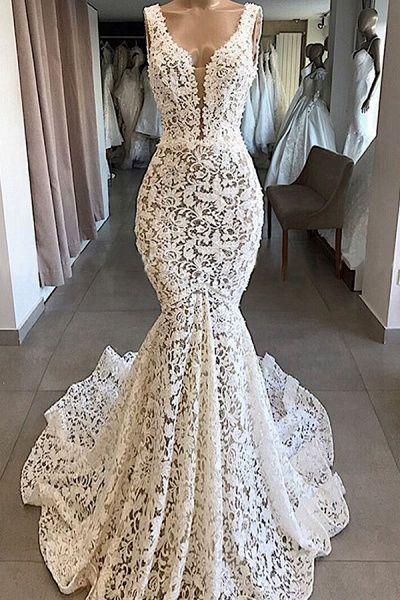 Vintage V Neck Mermaid Lace Wedding Dresses Cheap Wedding Dress Cocosbride In 2020 Lace Mermaid Wedding Dress Fitted Wedding Dress Wedding Dress Long Sleeve