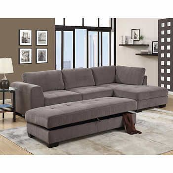 Wasaga Grey Fabric Sofa With Right Hand Facing Chaise With Ottoman