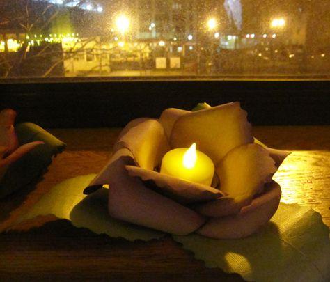 Paper flower led holder
