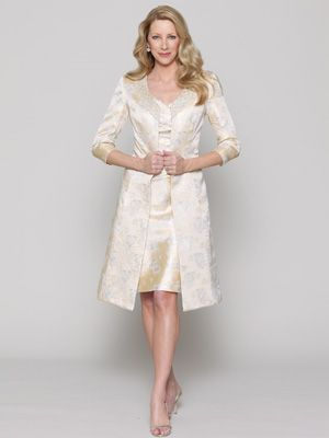 Garden Party Mother of the Bride Dress    A V-neck dress with an A-line skirt and a knee-length coat by Collection 20 by Watters.