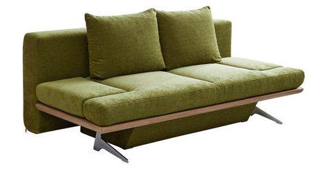 Schlafsofa Olivgrun Chromfarben Olivgrun Design Holz Textil