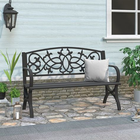 Fleur De Lis Living Robbin Metal Garden Bench  Reviews | Wayfair