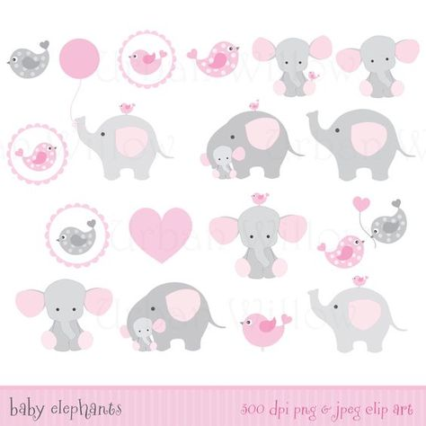 Clip art for personal and commercial use. Please read our Terms of Use policies before purchasing, thank you. ******INSTANT DOWNLOAD******** ♡ BABY SHOWER ELEPHANTS♡- Clip art & digital papers set in premium quality 300 dpi, Png and Jpeg files. These sweet elephant clip arts are ideal for baby shower crafts. This set includes: ♡ 17 clip art images, in .png & jpeg format. ♡ 5 digital paper backgrounds (8.5 x 11 Jpeg files). Elephant Image sizes are approx. 6 wide or high, and can ...