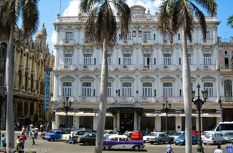 Founded in 1875, the Inglaterra is Cuba's oldest hotel and has been declared a National Monument. It was exceedingly popular in the nineteenth century and is still favoured by visitors who particularly enjoy hanging out in its covered café, having drinks or sandwiches on tables individually decorated by Cuban contemporary artists and watching the world go by. Hotel Inglaterra, Cuba