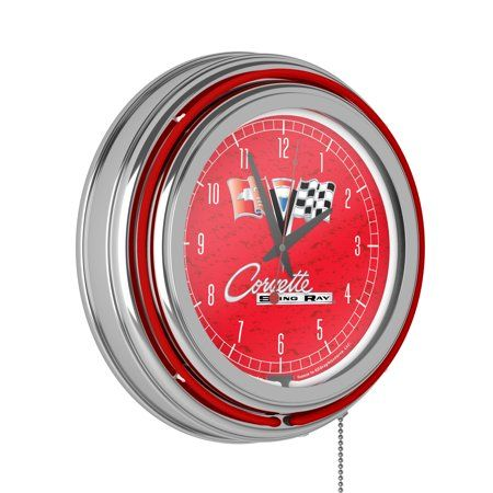 Corvette C2 Red Chrome Double Ring Neon Clock