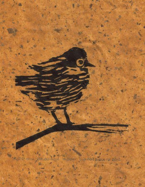 Bird on Branch Original Woodcut Print Limited Edition 18/200 Woodblock on Chiri Paper
