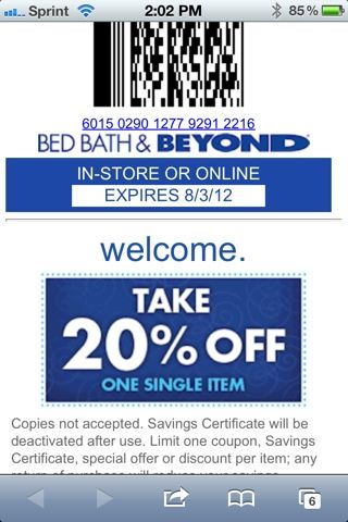 bed bath and beyond email coupons