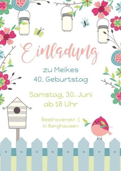 Geburtstagseinladung Zum Gartenfest Einladungskarten Einladung