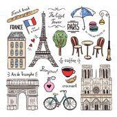 Paris and France hand drawn illustrations. Travel symbols - #Drawn #France #Hand #Illustrations #Paris #symbols #Travel #Traveldrawing