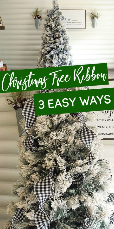 Learn how to put ribbon on a Christmas Tree! I share 3 different methods of how to put ribbon on your tree that is easy and gorgeous! Christmas Tree Decorations Ribbon, Ribbon On Christmas Tree, Christmas Tree Themes, Christmas Ideas, Ribbon On Tree, Christmas Trees With Ribbon, Best Christmas Tree Toppers, Porch Christmas Tree, Different Christmas Trees
