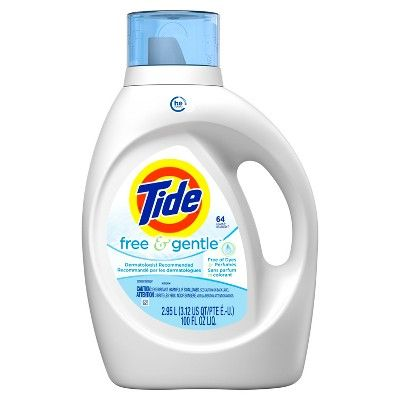 Tide Free And Gentle High Efficiency Liquid Laundry Detergent 100 Oz Free Gentle High Eff Laundry Liquid Gentle Laundry Detergent Liquid Laundry Detergent