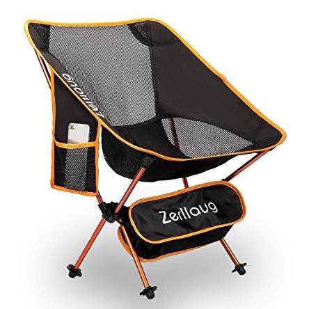 Zerllaug Folding Camping Chair Lightweight Portable Backpacking Chair For Outdoor Heavy Duty 270 Lb Ca Backpacking Chair Folding Camping Chairs Camping Chair