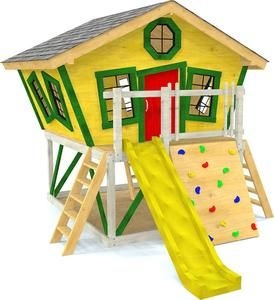 Slanted Crooked Elevated Playhouse With Slide And Rock Wall Play Houses Build A Playhouse Playhouse Plan