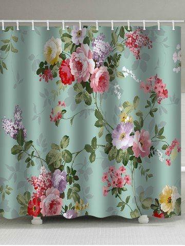 Retro Floral Printed Bath Curtain Floral Shower Curtains