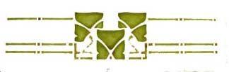 """Leaf Trio Stencil: 23.25""""W x 5""""H $38."""