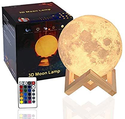 Amazon Com 3d Moon Lamp Kids Nightlight Rechargeable 16 Led Colors 5 9 Inch Globe Full Set With Wood Stan Night Light Kids Led Color Changing Lights Lamp