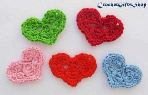 Pattern crochet valentine day heart applique motif garland wedding