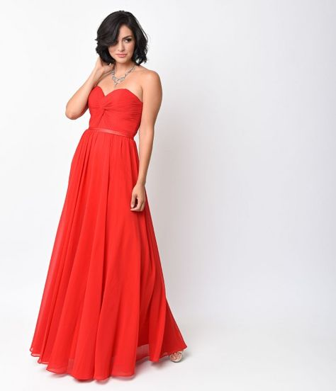 bb73912aa561 Red Chiffon Strapless Sweetheart Corset Long Gown. $88. Unique Vintage.