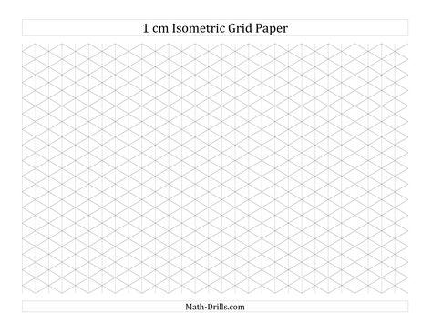 1 cm Isometric Grid Paper (Landscape) (A) Math Worksheet #freemath - isometric graph paper