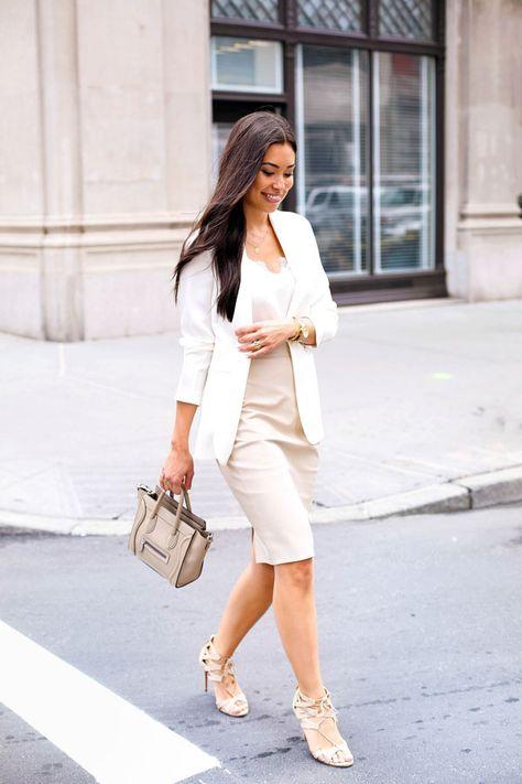Neutrals in Tribeca - skirt // Cami NYC tank Theory blazer // Aquazzura heels Celine bag // Jennifer Zeuner necklace Monday, August 2015