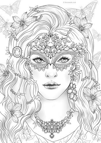 Stranger In A Mask Mermaid Coloring Pages Printable Adult