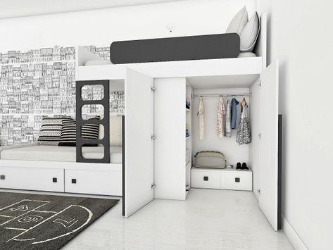 łóżko Piętrowe Z Szafą Tapczanem I Drabinką 548000 Pln