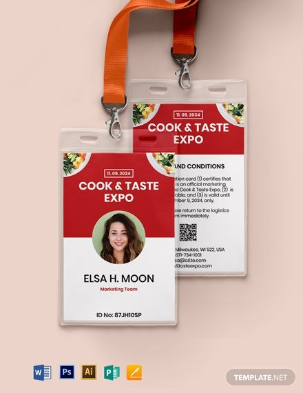Printable Event Id Card Template Word Doc Psd Apple Mac Pages Illustrator Publisher Id Card Template Event Id Card Template
