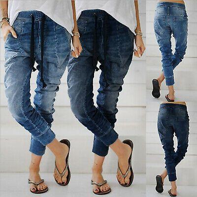 Women Casual Denim Jeans Jogger Pants Ladies Drawstring Elastic Waist Trousers