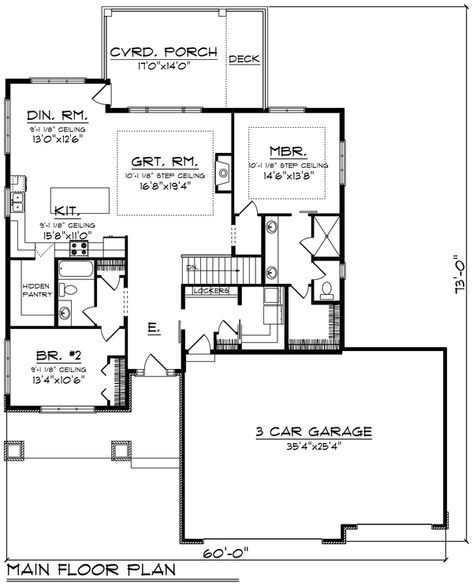 Ranch Style House Plan 2 Beds 2 Baths 1736 Sq Ft Plan 70 1484 Floor Plans Ranch Basement House Plans Garage House Plans
