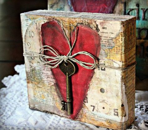 mixed media heart box
