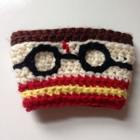 Harry Potter Crocheted Coffee Cozy by TheGeekyCrocheter on Etsy, $20.00