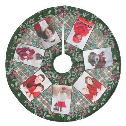 Green Country Christmas 2020 Family Photo Collage Christmas Wreath Dark Green Fleece Tree Skirt