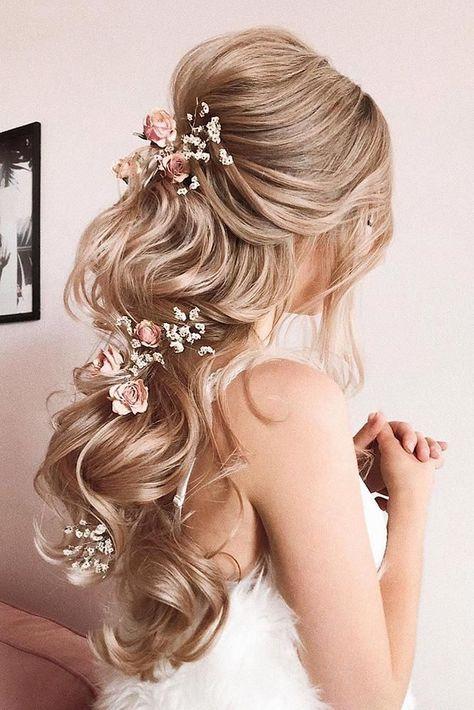 33 Wedding Hairstyles With Hair Down ❤ wedding hairstyles down long blonde hair half up half down with pink roses verafursova #weddingforward #wedding #bride #weddinghairstyles #weddinghairstylesdown #GreenHair  #GrayHair  #HairInspo  #HairMask  #HairKorean  #WhiteHair  #FallHair  #HairReferen