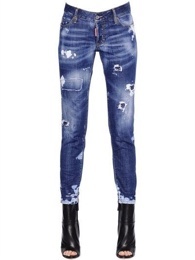 Dsquared2 Jennifer Destroyed Stretch Denim Jeans In Blue Modesens Jeans Mujer Ropa Moda Para Mujer
