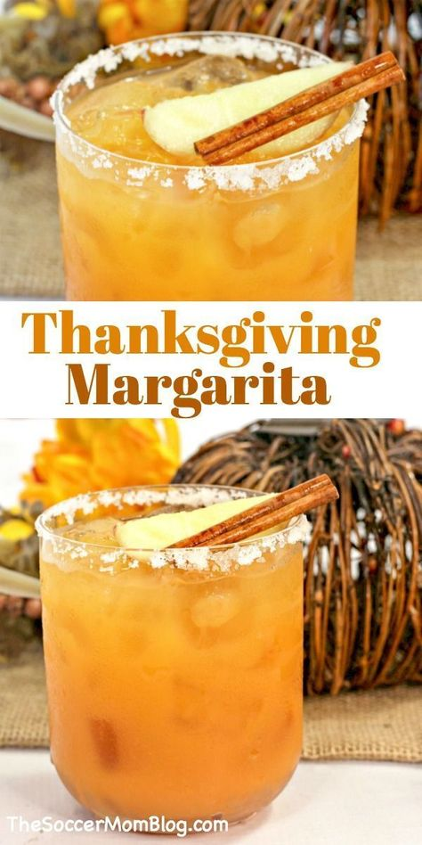 A smooth, sweet, and spicy fall themed cocktail, this Thanksgiving Margarita is a treat for the taste buds! An easy and delcious tequila drink! Fall Drinks, Holiday Drinks, Party Drinks, Cocktail Drinks, Fall Cocktails, Thanksgiving Alcoholic Drinks, Holiday Meme, Rum Cocktail Recipes, Dessert Drinks