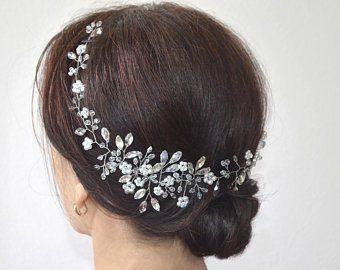 Boho Headpiece Wedding Accessory Silver And Crystal Wreath Bridal Pearl Wreath Hairpiece Bridal Tiara Wedding Headpiece Wedding Crown