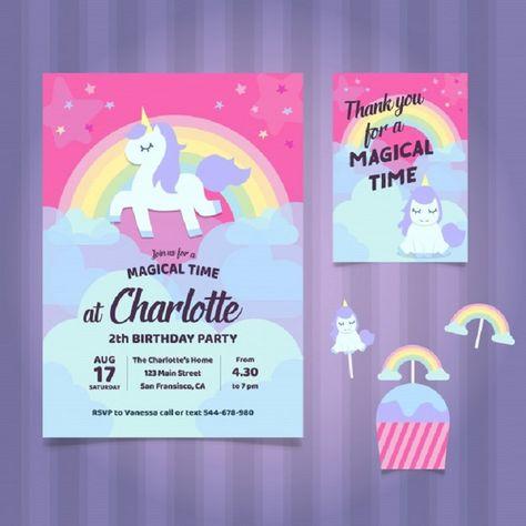 vector birthday invitation unicorn theme
