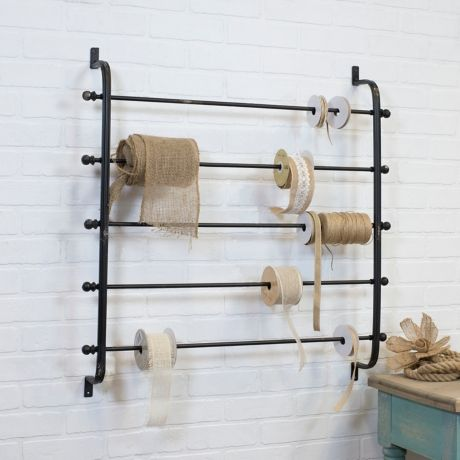 Wall Mounted Ribbon Storage Rack With Images Baskets On Wall