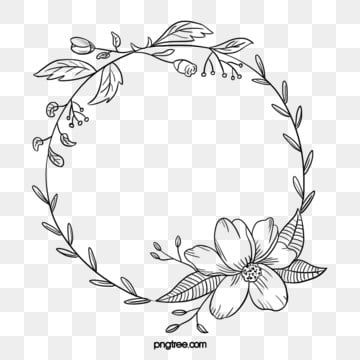 Black Hand Painted Line Side Wedding Decoration With Enclosed Round Symbolic Flower Border Border Clipart Marry Wedding Decorations Png Transparent Clipart How To Draw Hands Flower Border Flower Drawing