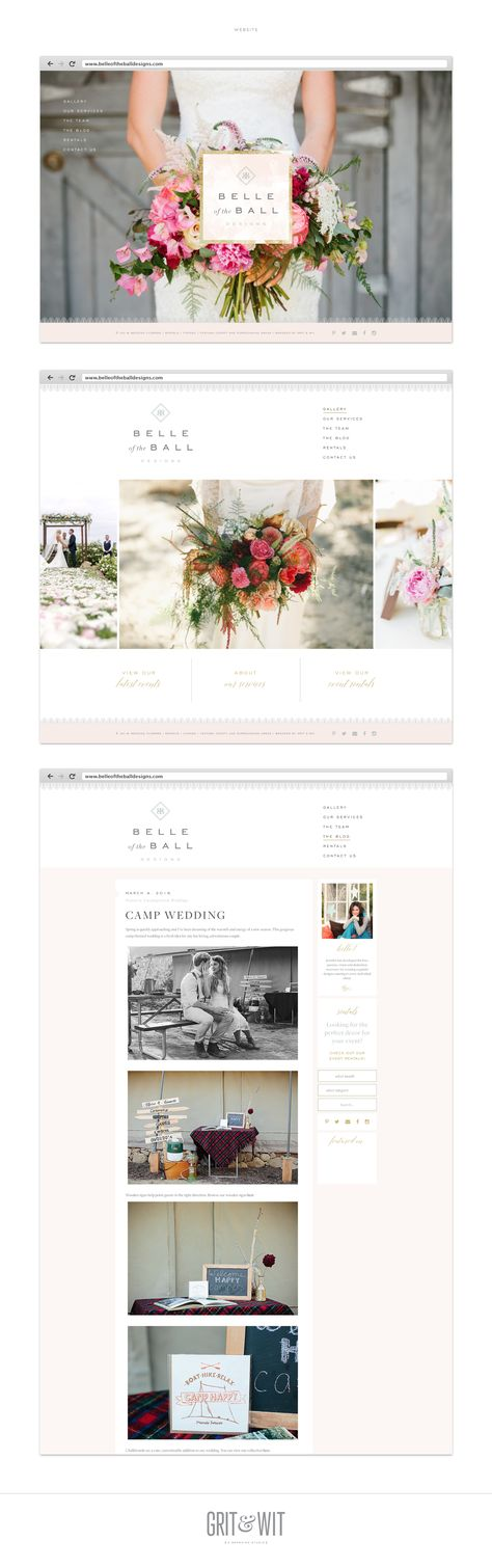 Belle and the Ball Website design by Grit & Wit Design