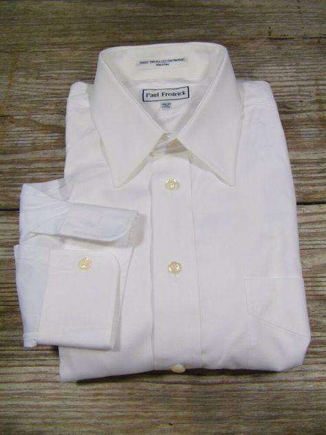Paul Fredrick Mens Pinpoint Straight Collar Button Cuff Dress Shirt