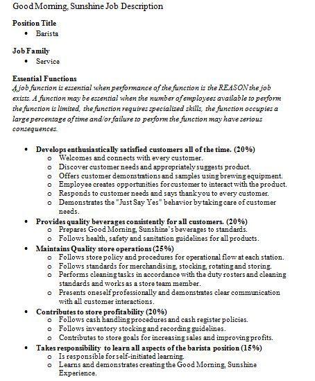 Barista Job Description At Starbucks Job Description Barista Job Resume Samples