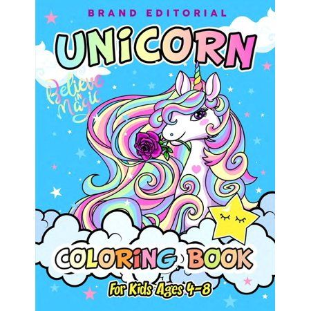 Brand Editorial Unicorn Coloring Book For Kids Ages 4 8 Paperback Walmart Com Coloring Books Sketch Book Kids Coloring Books